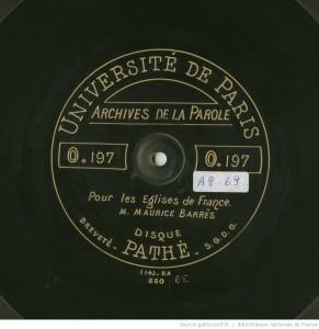 """""""Pour les Eglises de France"""", extrait sonore à écouter sur gallica.bnf.fr"""
