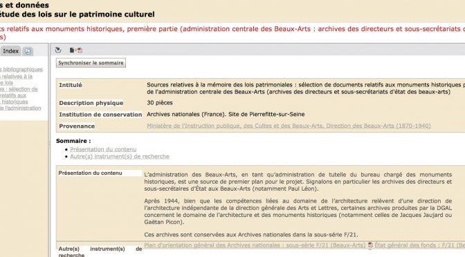 Mise en ligne du guide des sources relatif à la législation sur les monuments historiques